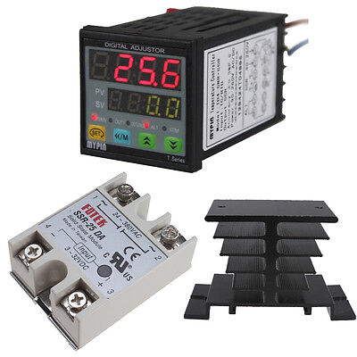 Digital PID Thermostat Temperature Controller SSR J S K E Thermocouple Heat Sink
