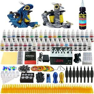 Solong-Tattoo-Kit-2-Pro-Machine-Guns-40-Inks-Power-Supply-Needle-Grips-TK223
