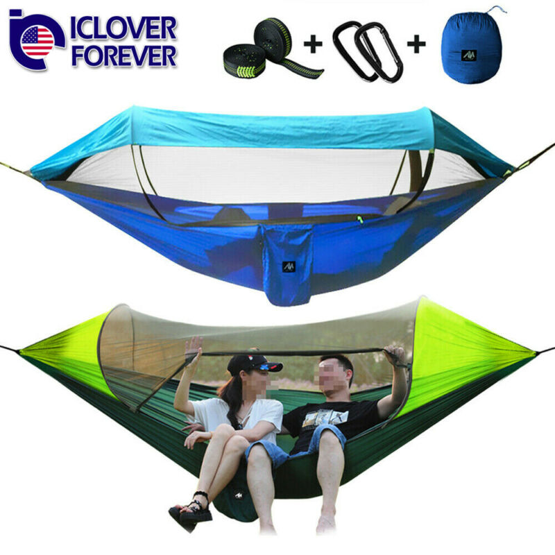 Camping Hammock Tent Mosquito Net Set 2 Person Sun Cover Rainproof Hanging Bed