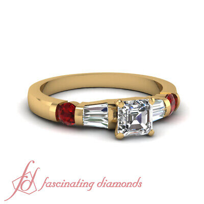 Ruby And Baguette Diamond Wedding Sets With Asscher Cut In Center GIA 1 Carat