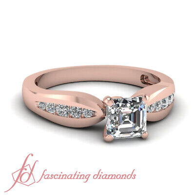 Tapered Channel Set Engagement Ring With Asscher Cut And Round Diamond 14K GIA