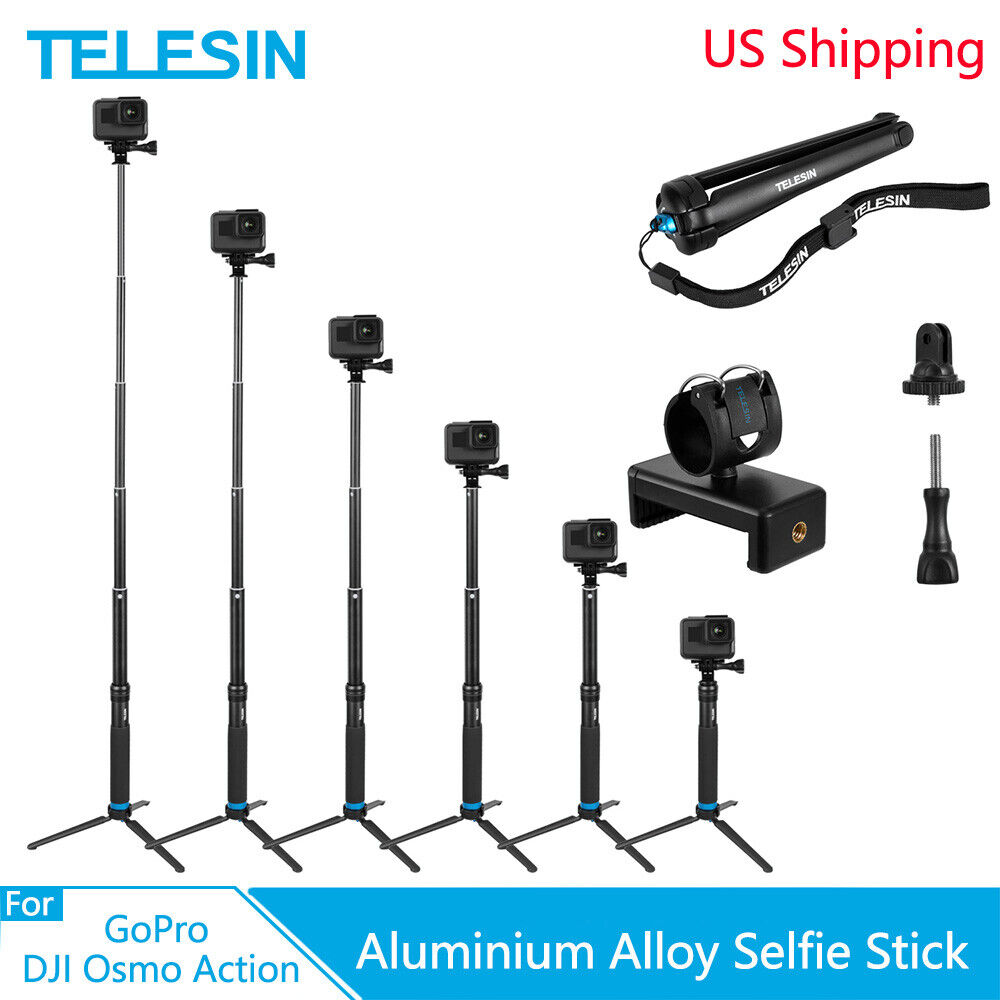 TELESIN Aluminium Selfie Stick w/ Tripod + Phone Clip for Go
