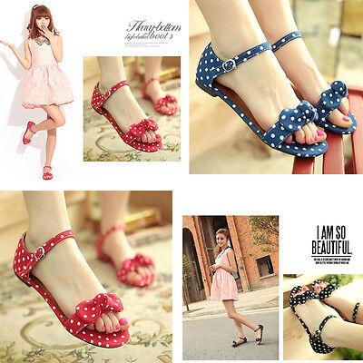Fashion Lady Shoes Women Polka Dot Bow Flat Sandals Summer Beach Casual Sandals