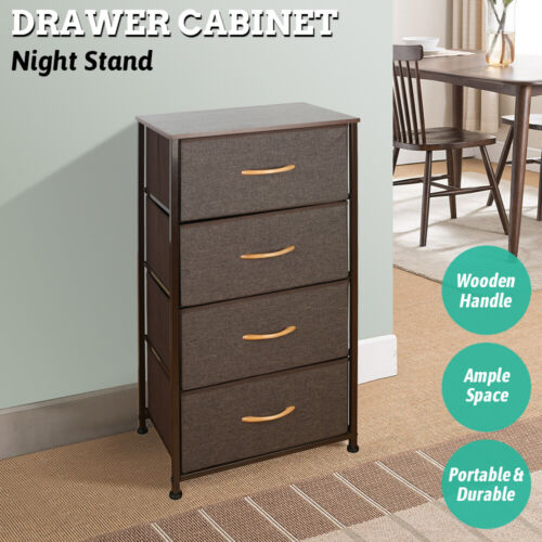 Drawer Dresser Shelf Organizer Bins Chest w/ 4 Fabric Drawers Tower Storage Unit