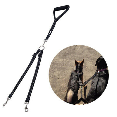 Reflective Safety Double Dog Leash No Tangle with Handle Lead for Dogs (Lead Nylon Reflective Leash)