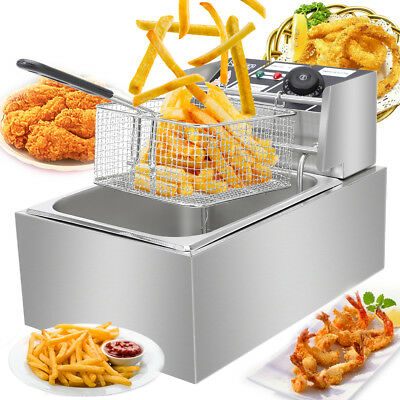2500w 6.3qt Electric Countertop Deep Fryer Basket Restaurant 6 Liter