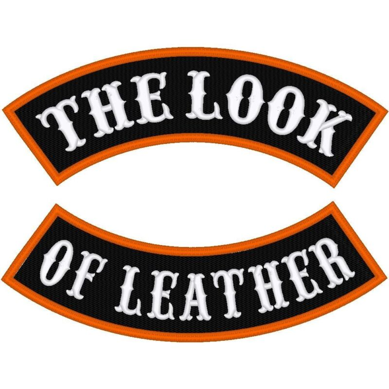 """CUSTOM EMBROIDERED MOTORCYCLE  13.5  """"LEATHER LOOK""""  ROCKER PATCH"""
