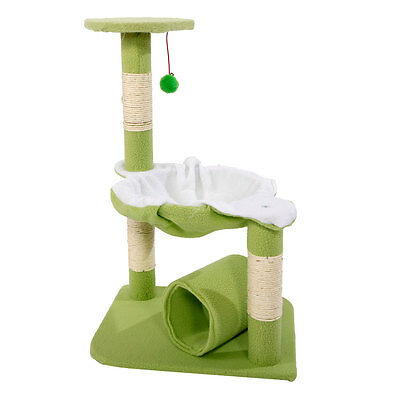 "M51 28"" Cat Tree Tower Condo Sisal Scratcher Play Furniture Bed House Green"