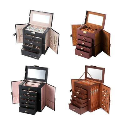 Jewelry Box Storage Organizer Case Ring Earring Necklace Mirror Leather Box Gift