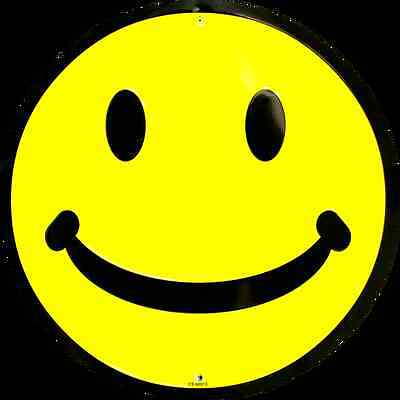 """SMILEY FACE 12"""" ROUND METAL SIGN MAN CAVE SPORTS ROOM GAME ROOM SIGN YELLOW"""
