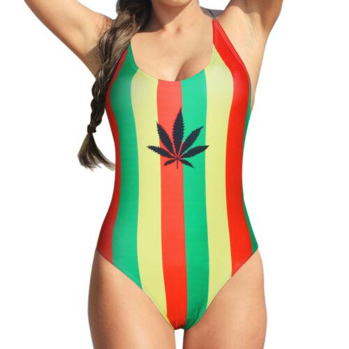8ce031cbd9 Women's One Piece Caribbean Jamaica flag Rasta Sport Monokini Swimsuit  Swimwear