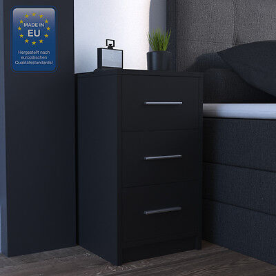 2x Nachtkommode für Boxspringbett Nachtschrank Nachttisch Kommode schwarz