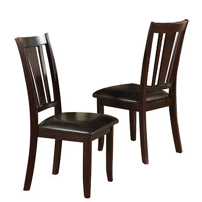 Dining Room Rectangular Bar Stool - Set of 2 Dining Side Chair Faux Leather Seat Cushion Rectangular Back Deep Brown