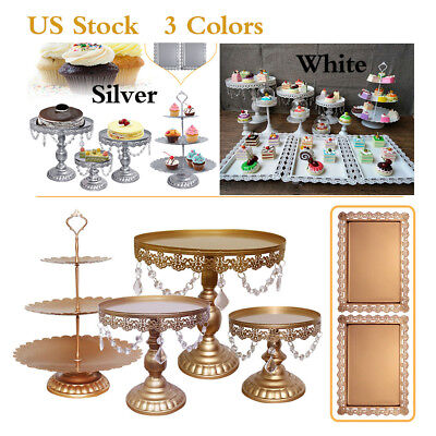 6Pcs Cake Stand Kit Crystals Lace Metal Wedding Party Display Tower Decor -