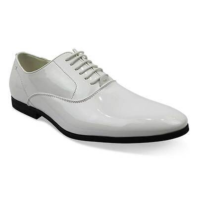 Leather Patent Leather Oxfords - White Tuxedo / Formal Round Toe Patent Leather Lace Up Dress Shoes Oxfords AZAR