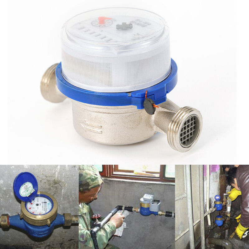 """NEW 15mm 1/2"""" Water Flow Measuring Meter Cold Dry Counter For Home and Garden US"""