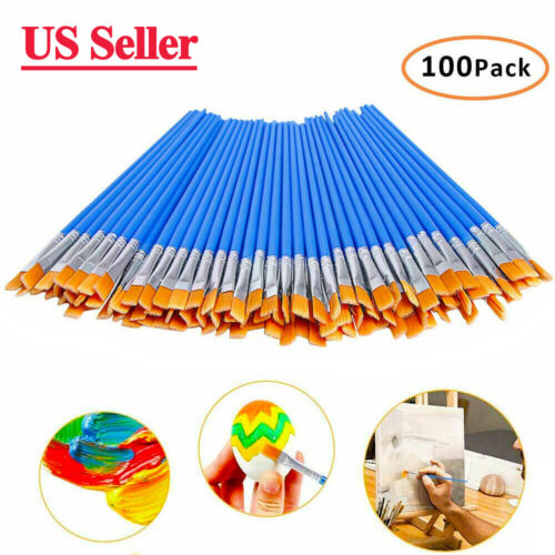 100Pcs Flat Paint Brushes Small Brush Bulk for Detail Painting Brush Xmas Gift