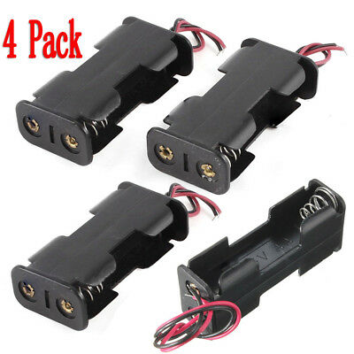 4Pcs Black Plastic Battery Holder Case w Wired for 2 x AA Batteries New Arrival!
