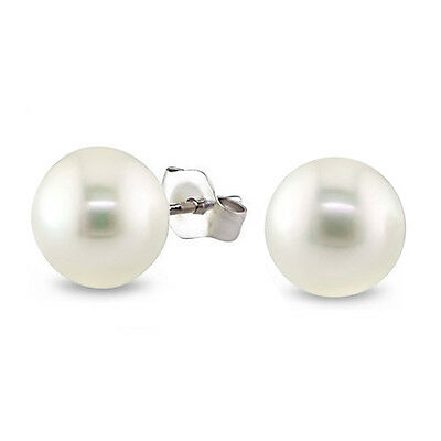 7-8mm White Freshwater Cultured Pearl Stud Earrings