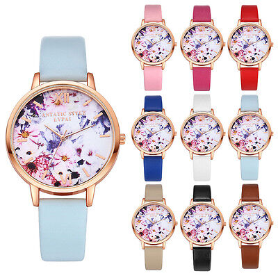 Women Floral Stainless Steel Leather Band Quartz Analalog Wrist Watch