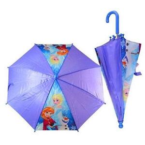 Disney Frozen Anna Elsa Olaf Umbrella Regular Handle For Kids - Purple
