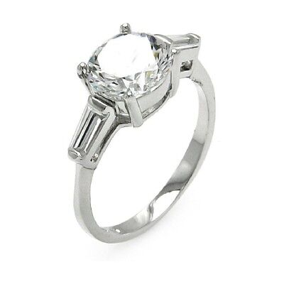 Sterling Silver Engagement Ring w/ 8 mm (2 ct) Brilliant Cut & Baguette Cut CZ (Brilliant Cut Silver Ring)