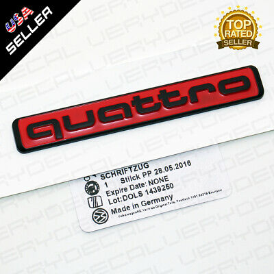 Audi Black Red Quattro Nameplate OEM ABS Emblem Liftgate Adhesive Logo Lid Badge