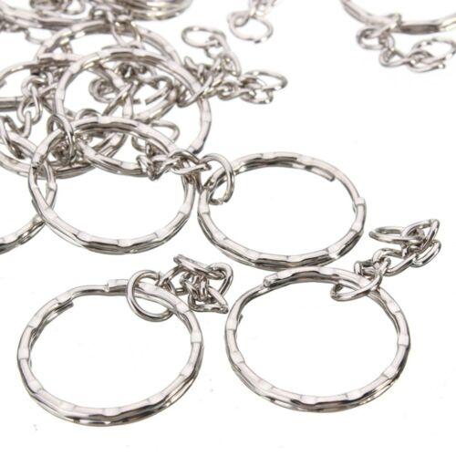 20//40//60 Keyring Blanks Silver Tone Key Chains Findings Split Rings 4 Link Chain