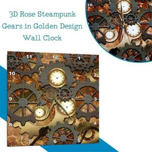 NEW 3D Rose Steampunk Gears in Golden Design Wall Clock 10 x 10 Condtion: New, 10 x 10