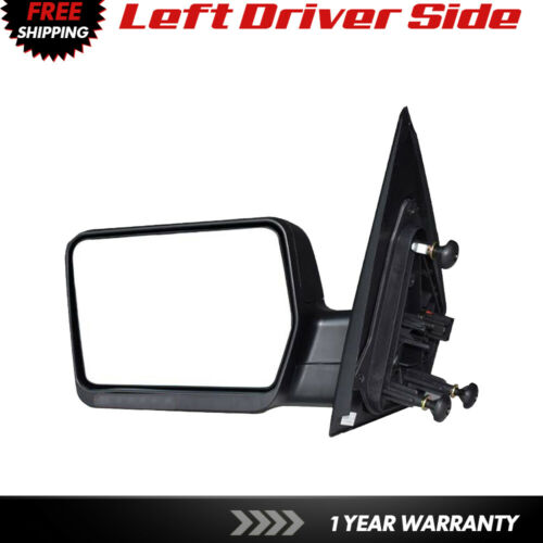 Tow Mirrors For 2004-2008 Ford F-150 Textured Black Manual Folding Driver Side