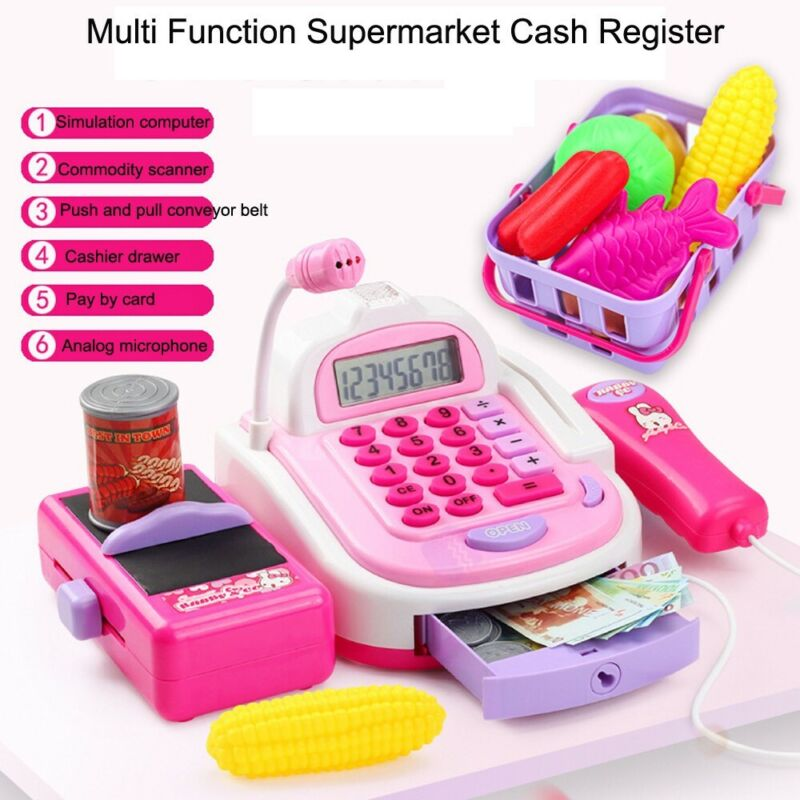 Kids Pretend Play Electronic Cash Register Toy With Sounds A