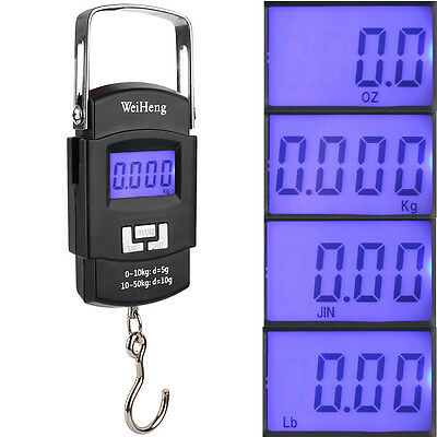 50KG LBS OZ Handheld Digital Luggage Scales Fishing Weighing Travel Suitcase