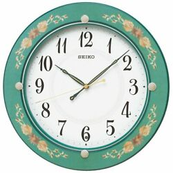 Seiko Wall Clock Electric Wave Analog Wooden Frame Green Floral Pattern NEW