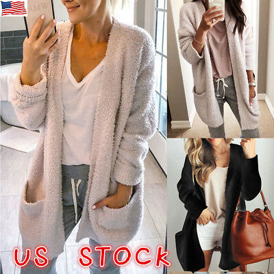 Women Long Sleeve Loose Sweater Knitted Cardigan Coat Jacket Outwear Casual US