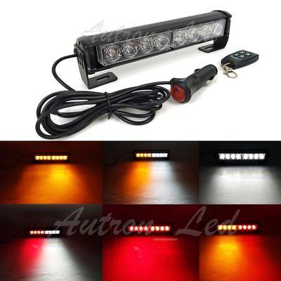9 8w Led Emergency Warn Amber White Dash Remote Control Grill Strobe Light Bar