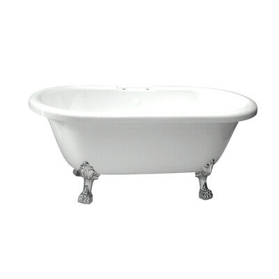 Randolph Morris 60 In Acrylic Double Ended Clawfoot Tub-Rim Drillings-Lion Paw
