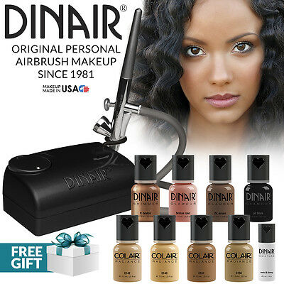 Dinair Airbrush Foundation Makeup Kit Pro 10pc Make Up Set Tan Shades For