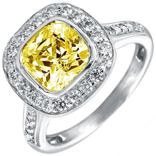 GIA Certified Fancy Yellow Cushion Diamond Engagement Ring 3.25 CT Platinum