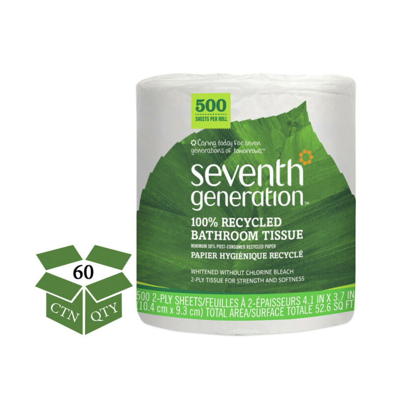 Seventh Generation 137038 100% Recycled Bathroom Tissue, 2-Ply (White) New