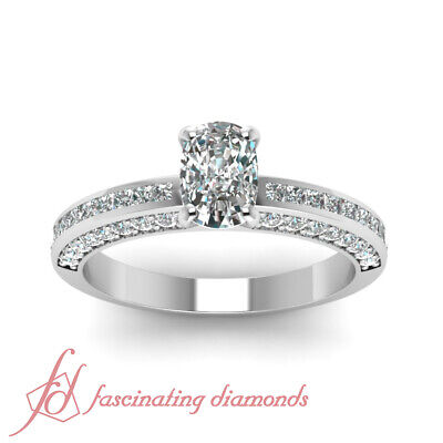 1.25 Ct Cushion Cut Diamond Inline Series Engagement Ring Channel Set 14K GIA 1