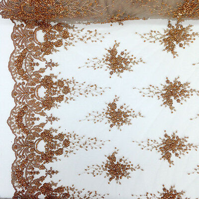 Gold Bridal Spirit floral Lace Sequins Beaded Scallop Fabric for Dresses 52