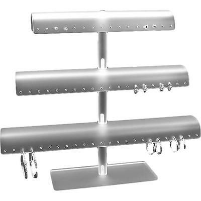 White Acrylic Three Tier T-bar 60 Pair Earring Display Stand Kit 5 Pcs