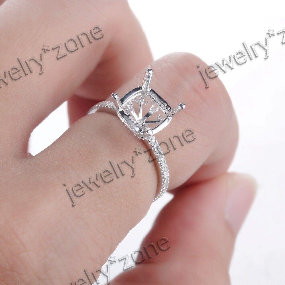Sale 14K White Gold 8MM Round Diamond Jewelry Semi Mount Engagement ...
