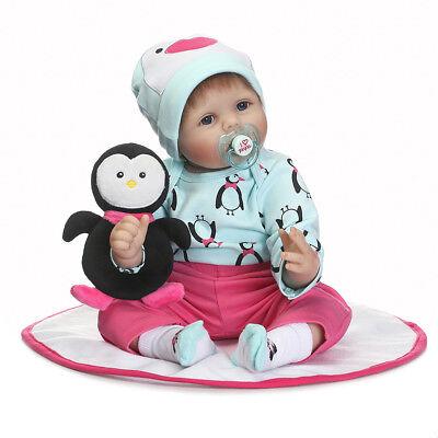 NEU 55cm Lebensecht Handgefertigt reborn Baby Puppe Weich Silikon-Vinyl Mädchen