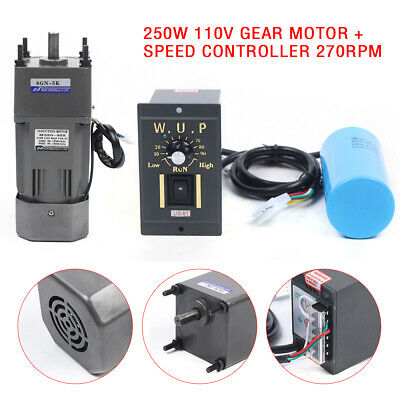 250w Ac110v Gear Motor Electric Motor With Variable Speed Controller 15 270rpm