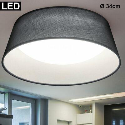 LED Decken Strahler grau Textil Schirm Wohn Zimmer Leuchte Stoff Lampe rund weiß