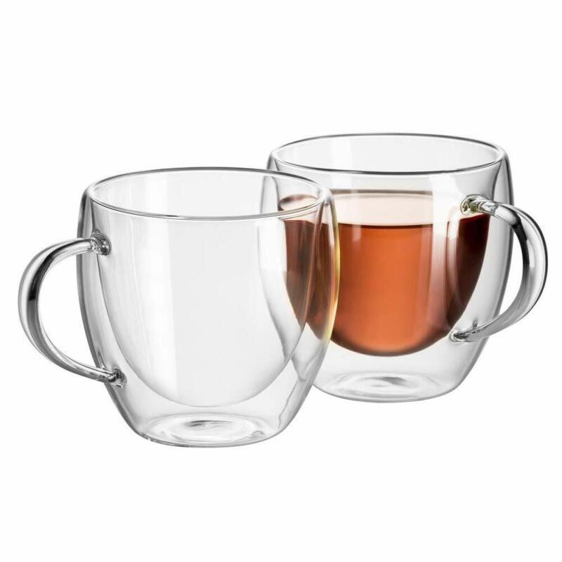 2x Doppelwandiges Thermo Glas Tee Glas Kaffee Glas Kaffeetasse mit Henkel 0.15l