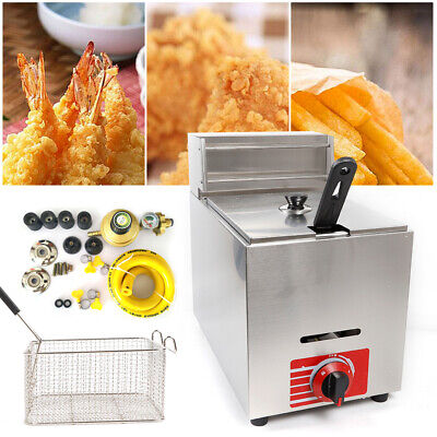 10l Gas Fryer Commercial Countertop Deep Fryer Pot W Sus304 Basket Accessories