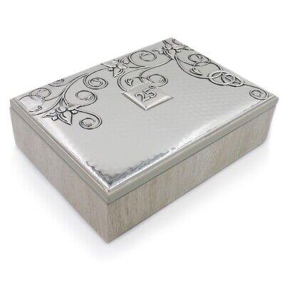 Caja de joyería de madera gris con placa de plata 25 Aniversario...