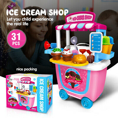 Cute Kids Simulation Ice Cream Shop Dress Cart Pretend Toy Set Role play Gift US